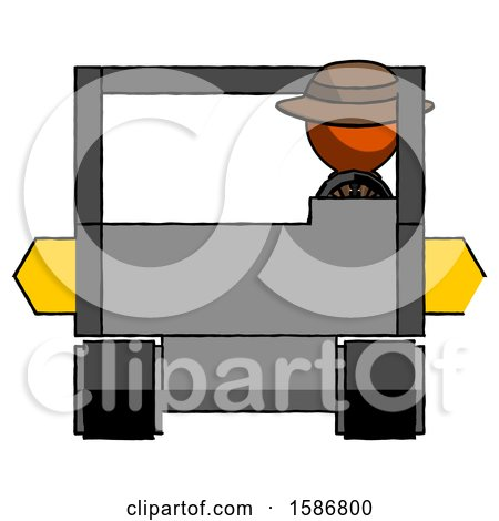Orange Detective Man Driving Amphibious Tracked Vehicle Front View by Leo Blanchette