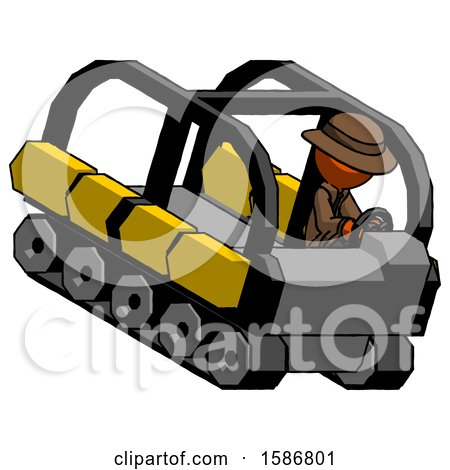Orange Detective Man Driving Amphibious Tracked Vehicle Top Angle View by Leo Blanchette