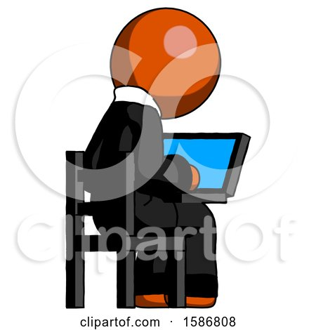 Orange Clergy Man Using Laptop Computer While Sitting in Chair View from Back by Leo Blanchette
