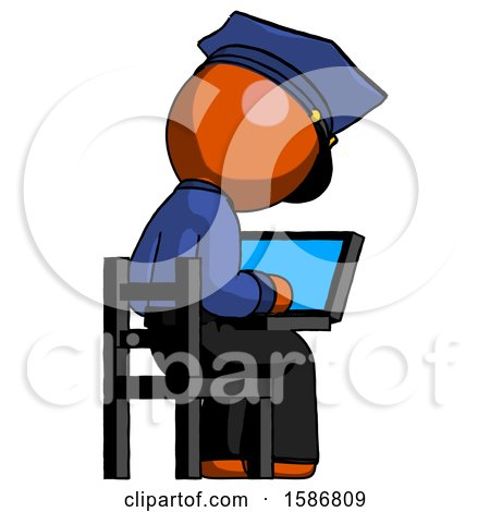 Orange Police Man Using Laptop Computer While Sitting in Chair View from Back by Leo Blanchette