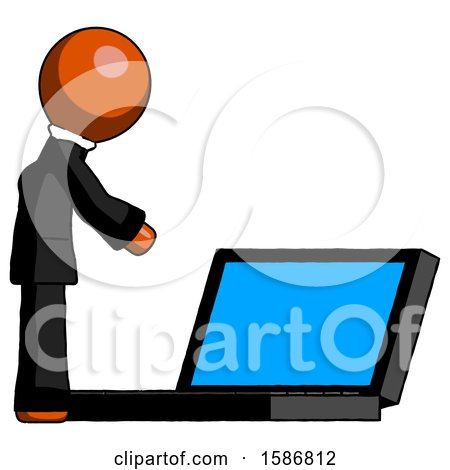 Orange Clergy Man Using Large Laptop Computer Side Orthographic View by Leo Blanchette