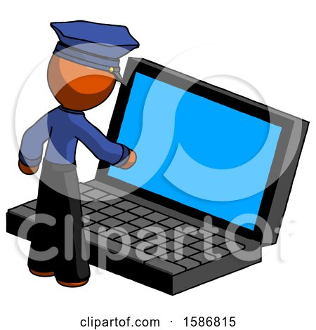 Orange Police Man Using Large Laptop Computer by Leo Blanchette