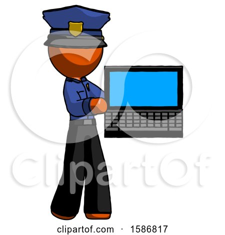 Orange Police Man Holding Laptop Computer Presenting Something on Screen by Leo Blanchette