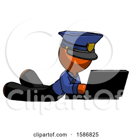 Orange Police Man Using Laptop Computer While Lying on Floor Side Angled View by Leo Blanchette