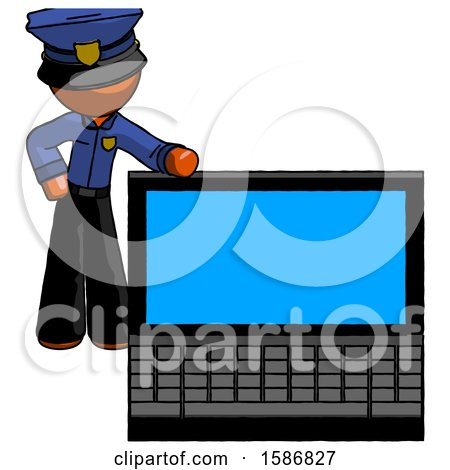 Orange Police Man Beside Large Laptop Computer, Leaning Against It by Leo Blanchette