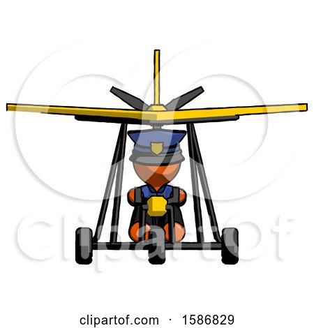 Orange Police Man in Ultralight Aircraft Front View by Leo Blanchette