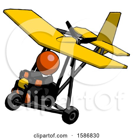 Orange Clergy Man in Ultralight Aircraft Top Side View by Leo Blanchette