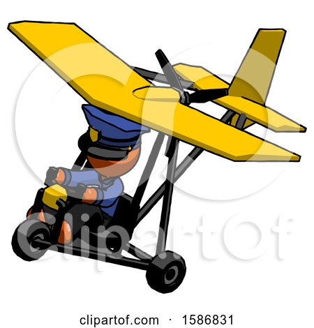 Orange Police Man in Ultralight Aircraft Top Side View by Leo Blanchette