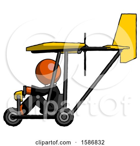 Orange Clergy Man in Ultralight Aircraft Side View by Leo Blanchette