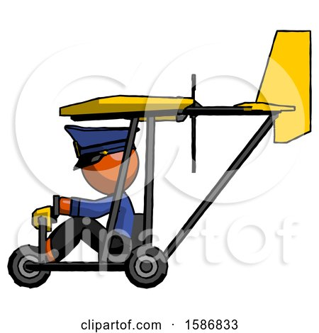 Orange Police Man in Ultralight Aircraft Side View by Leo Blanchette
