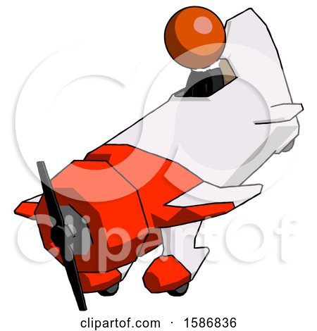 Orange Clergy Man in Geebee Stunt Plane Descending View by Leo Blanchette