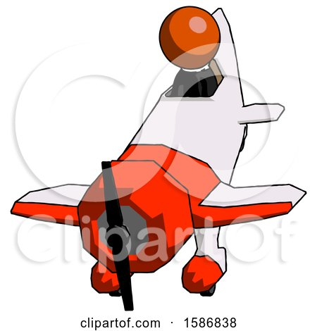 Orange Clergy Man in Geebee Stunt Plane Descending Front Angle View by Leo Blanchette