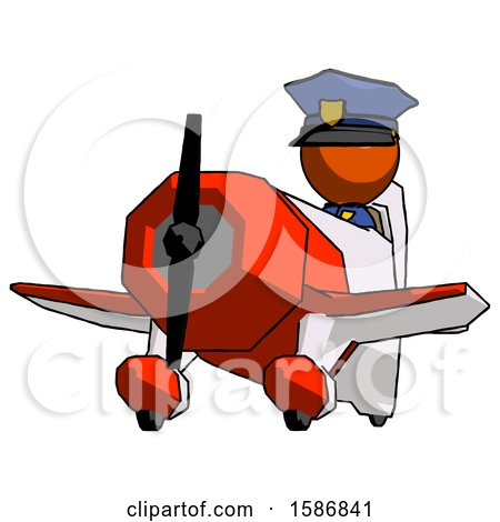 Orange Police Man Flying in Geebee Stunt Plane Viewed from Below by Leo Blanchette