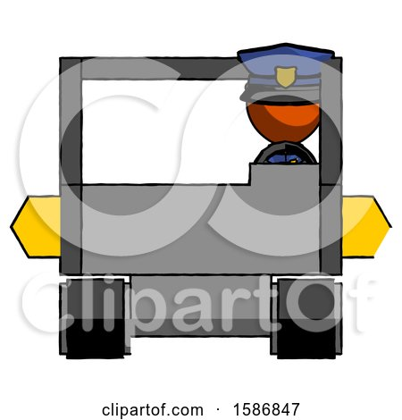 Orange Police Man Driving Amphibious Tracked Vehicle Front View by Leo Blanchette