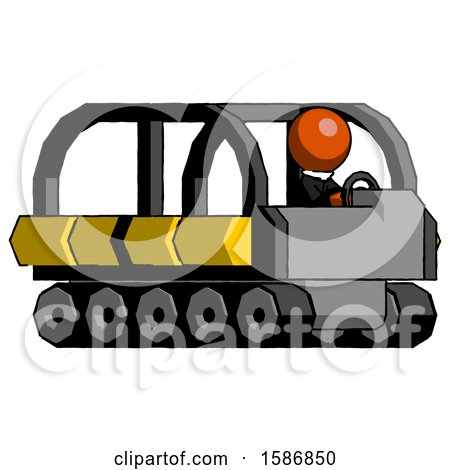 Orange Clergy Man Driving Amphibious Tracked Vehicle Side Angle View by Leo Blanchette