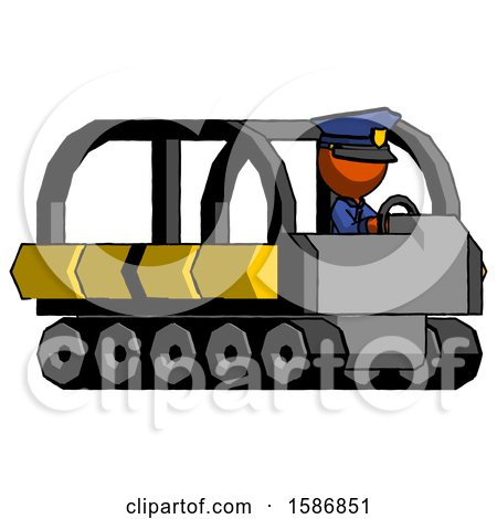 Orange Police Man Driving Amphibious Tracked Vehicle Side Angle View by Leo Blanchette