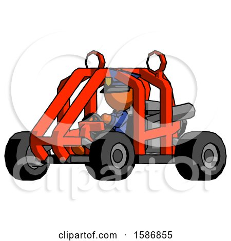 Orange Police Man Riding Sports Buggy Side Angle View by Leo Blanchette