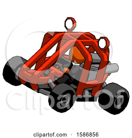 Orange Clergy Man Riding Sports Buggy Side Top Angle View by Leo Blanchette