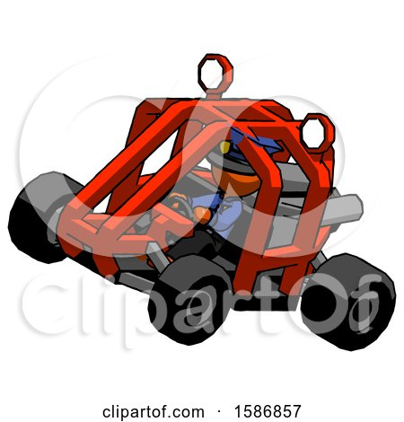 Orange Police Man Riding Sports Buggy Side Top Angle View by Leo Blanchette