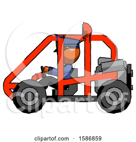 Orange Police Man Riding Sports Buggy Side View by Leo Blanchette
