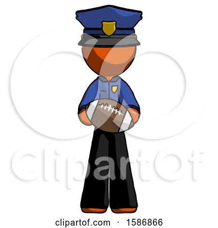 Orange Police Man Giving Football to You by Leo Blanchette