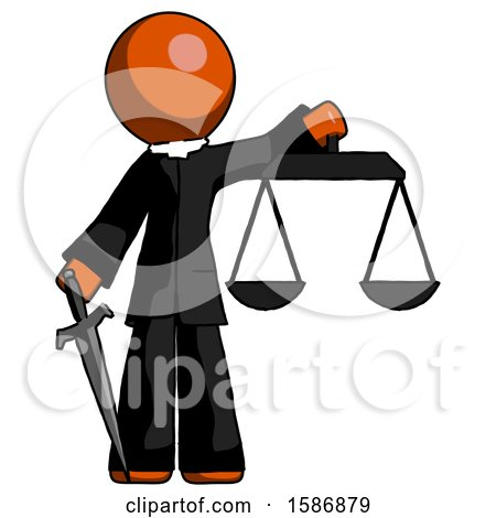 Orange Clergy Man Justice Concept with Scales and Sword, Justicia Derived by Leo Blanchette