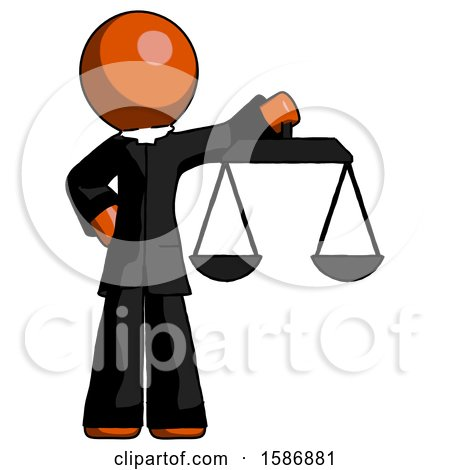 Orange Clergy Man Holding Scales of Justice by Leo Blanchette