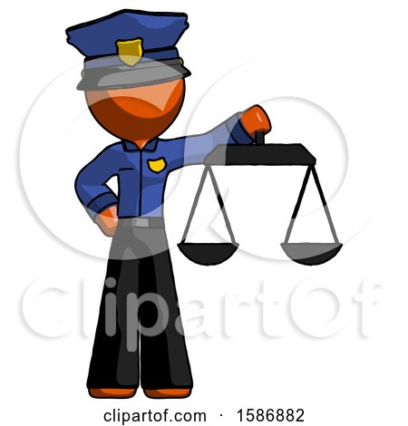 Orange Police Man Holding Scales of Justice by Leo Blanchette
