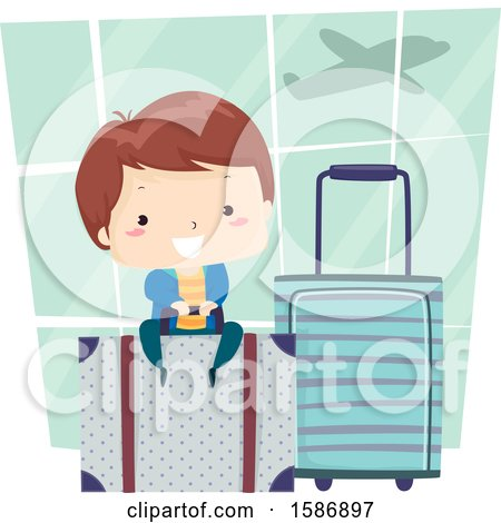 Clipart of a Brunette White Boy Sitting on a Luggage Bag at the Airport - Royalty Free Vector Illustration by BNP Design Studio