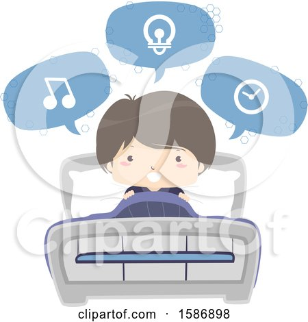 Clipart of a Boy Speaking and Using Voice Command on His Bed - Royalty Free Vector Illustration by BNP Design Studio