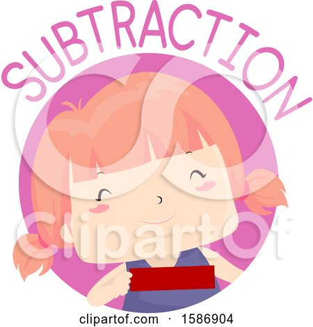 Clipart of a Red Haired White Girl Holding a Minus Sign - Royalty Free Vector Illustration by BNP Design Studio