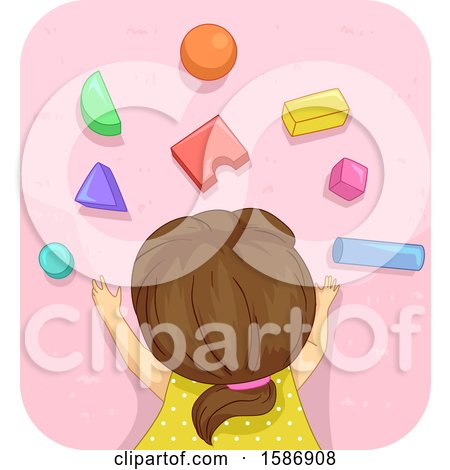 Clipart of a Brunette White Girl Lying down the Carpet Playing with Building Blocks - Royalty Free Vector Illustration by BNP Design Studio