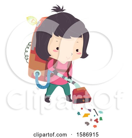 Clipart of a Girl Using a Trash Collecting Vacuum Cleaner She Invented - Royalty Free Vector Illustration by BNP Design Studio