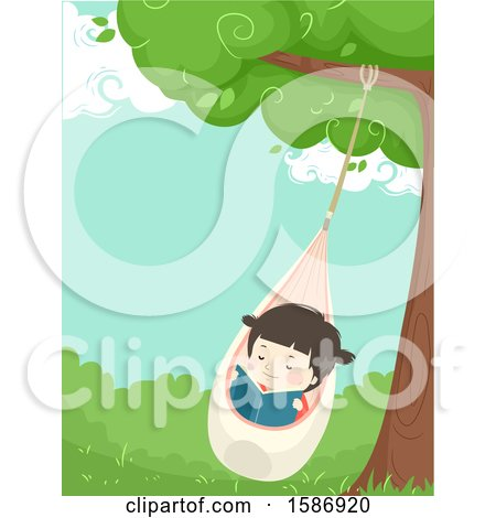 Clipart of a Girl Reading on a Pod Swing Under a Tree - Royalty Free Vector Illustration by BNP Design Studio