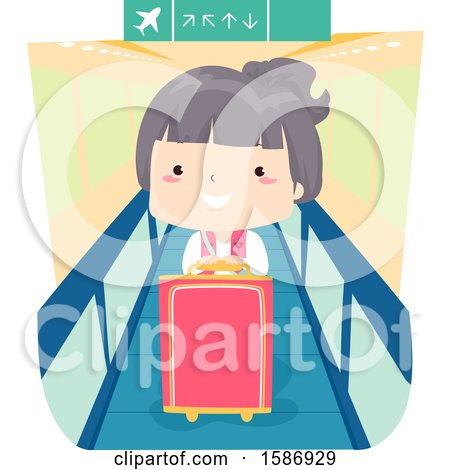 Clipart of a Girl Traveler Standing on a Walkalator at the Airport - Royalty Free Vector Illustration by BNP Design Studio