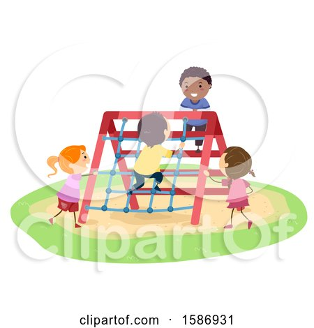 Clipart of a Group of Children Rope Climbing on a Playground - Royalty Free Vector Illustration by BNP Design Studio