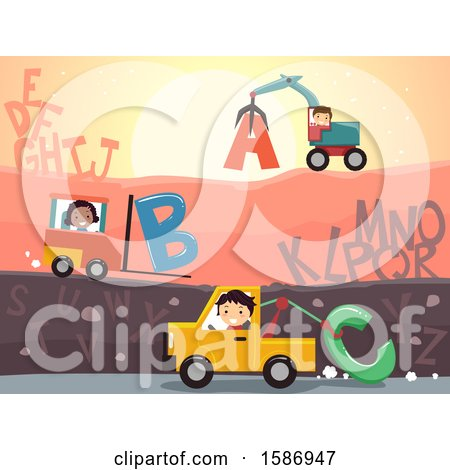 Group of Children in a Junk Yard with Letters Posters, Art Prints
