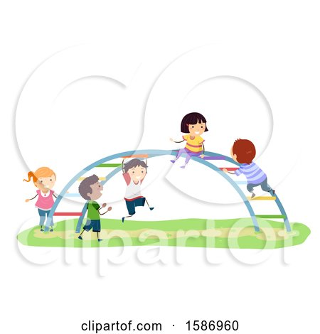 Clipart of a Group of Children Playing on a Rainbow Bar in the Playground - Royalty Free Vector Illustration by BNP Design Studio