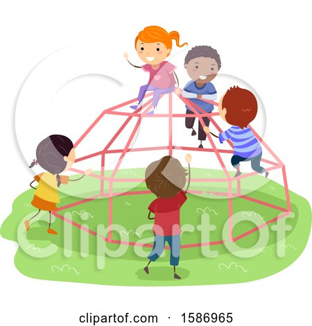 Clipart of a Group of Children Playing on a Dome Climber in the Playground - Royalty Free Vector Illustration by BNP Design Studio