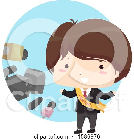 Clipart of a Brunette White Boy Mayor Being Interviewed - Royalty Free Vector Illustration by BNP Design Studio