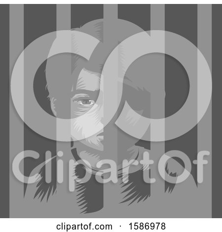 Boy Behind Bars in a Juvenile Detention Center Posters, Art Prints