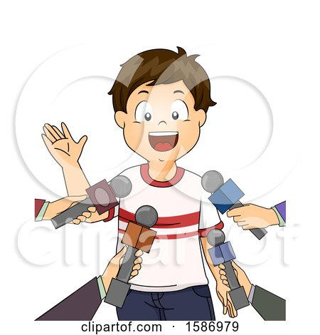 Clipart of a Brunette White Boy Being Interviewed by Several People Holding out Microphones - Royalty Free Vector Illustration by BNP Design Studio