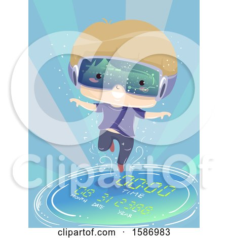 Clipart of a Blond White Boy Wearing Virtual Reality Goggles Floating Through Time - Royalty Free Vector Illustration by BNP Design Studio
