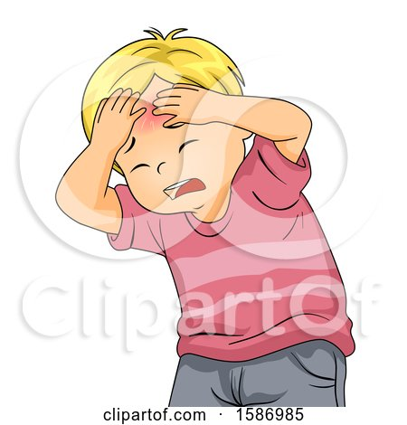 Clipart of a Blond White Boy Holding His Head with a Red Bump - Royalty Free Vector Illustration by BNP Design Studio