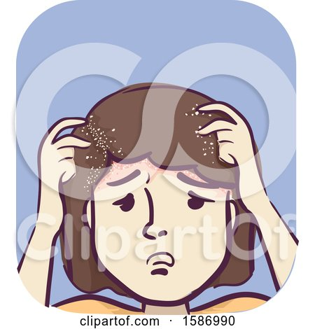 Clipart of a Girl Scratching Her Head with Dandruff - Royalty Free Vector Illustration by BNP Design Studio