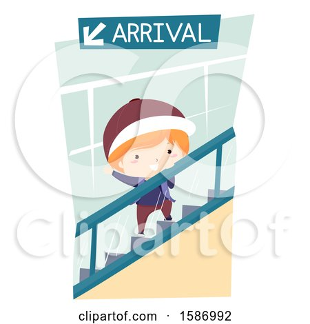 Clipart of a Boy Riding an Escalator in the Airport - Royalty Free Vector Illustration by BNP Design Studio
