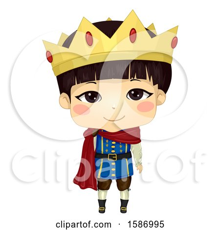 Clipart of an Asian Boy Prince - Royalty Free Vector Illustration by BNP Design Studio
