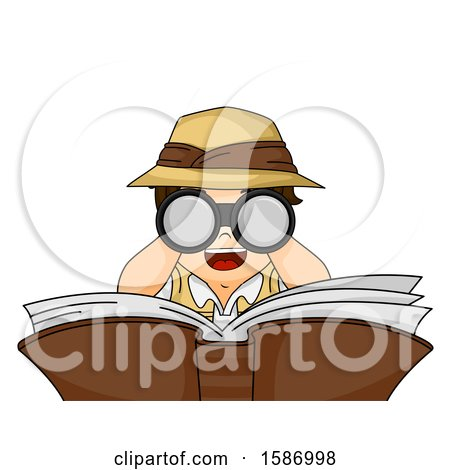 Clipart of a White Boy Looking Through Binoculars over a Book - Royalty Free Vector Illustration by BNP Design Studio