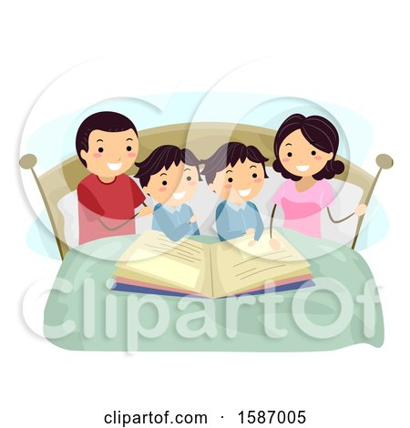 Clipart of Parents Reading a Bedtime Story to Their Twin Boys - Royalty Free Vector Illustration by BNP Design Studio