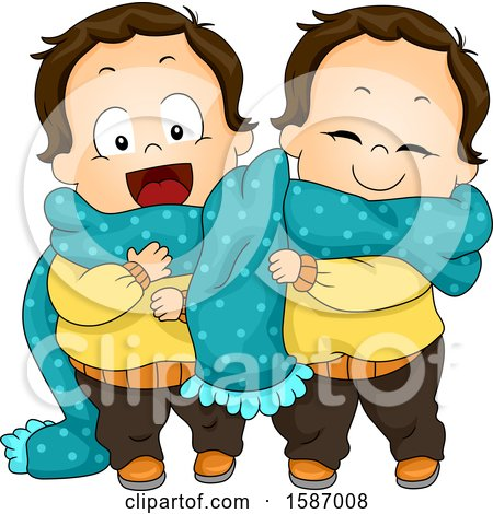 Clipart of Toddler Twin Boys Sharing a Scarf - Royalty Free Vector Illustration by BNP Design Studio